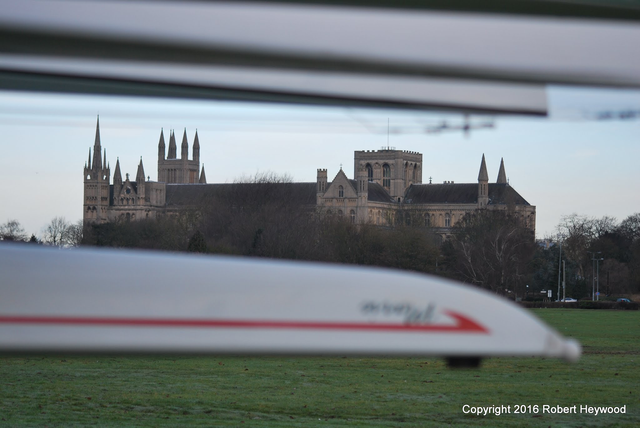 Photo of Peterborough Cathedral framed by MKRC boats