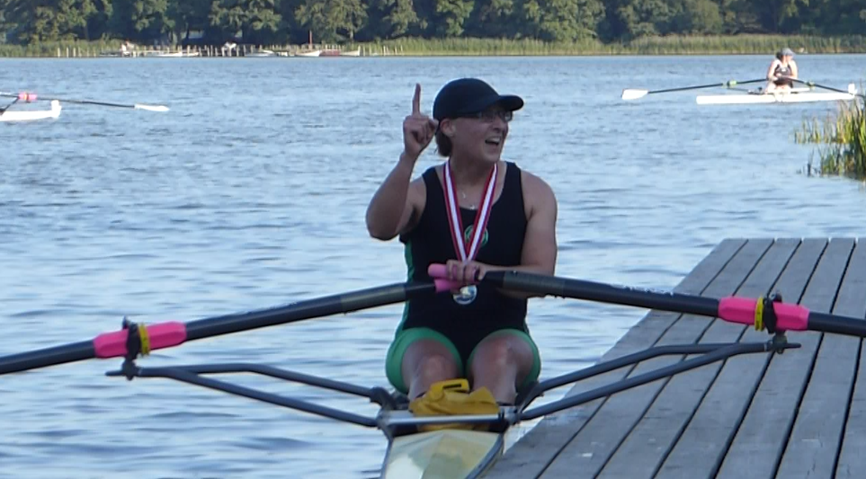 Helen Marshall winning Gold at World Rowing Masters