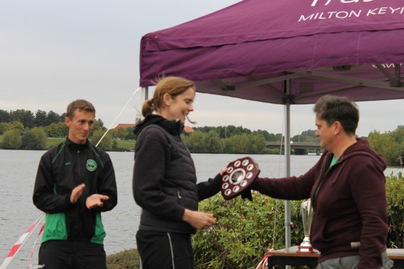 Cath Keeling of MKRC collecting the Swift Racing Primary Event Trophy